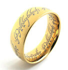 The Ring - Gold Plated Ring Necklace Pendant with Elvish Rune Engraving LOTR