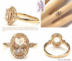 7x9mm Oval Morganite Engagement Wedding Ring Diamond Halo 14K Rose Gold