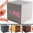 Mini Wood Square Digital LED Desk Alarm Clock Voice Control Thermometer for Home