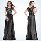 Women's Black Elegant Round Neck Long Evening Party Formal Prom Dresses 08828