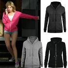 New Ladies Womens Hoodie Sweatshirt Plain Zip Fleece Hooded Coat Jumper Jacket