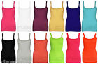 Womens Plain Color Ribbed Vest Ladies Strappy Long Stretch Rib Top Casual Shirt