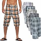 New Mens Knee Length Summer Combat Cargo Shorts Check Cotton Half Pants Bottoms