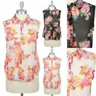 Sleeveless Chiffon All Over Floral Print Button Down Top Blouse Shirt S M L