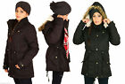 Womens Oversized Military Warm Fur Hooded Long Parka Coat Jacket 8 to 22
