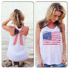 Women American Flag Pattern Print Backless Vest Shirt Sexy T-Shirt Tank Tops New