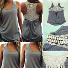 Fashion Women Summer Lace Vest Stripe Sleeveless Casual Tank Blouse Tops T-Shirt