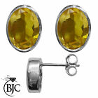 BJC® Sterling Silver Natural Citrine Oval Stud Earrings 3.00ct Studs Brand New
