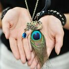 Stylish Ladies Womens fur Peacock Feather Crystal Pendant Chain Necklace