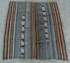 EXCEPTIONAL VNTG~NATIVE AM INDIAN NAVAJO WEAVING RUG 2-SECTION BLANKET~PICTORIAL