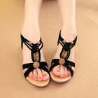 New Women's Bohemia Beach Sandals Summer Ankle Slippers Casual Beaded Flat Shoes