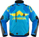 Icon Raiden DKR Waterproof D3O Jacket Blue Mens Size SM-3XL