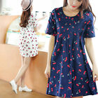 Fashion Women Loose High Waist Print New Summer Cherry Drape Maternity Dress