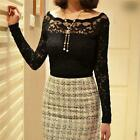 Fashion Women Ladies Floral Lace Sheer Scallop Off Shoulder Slim Top Blouse - CB