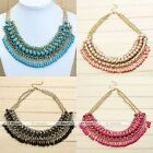 Gemstone Teardrop Tassels Bead Pendant Crystal Choker Statement Bib Necklace Hot