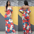 Women Sexy Maxi Evening Party Boho Shoulder Off Floral Printed Long Dress