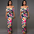 Women Sexy Floral Printed Evening Party Shoulder Off Cocktail Maxi Long Dress