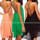 Sexy Womens Backless Chiffon Bandage Party Evening Clubwear Fashion Mini Dress
