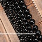 1Strand 2/3/4/6/8/10/12mm Black Agate Round Ball Loose Bead Jewelry Making Gift