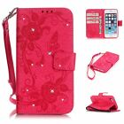 Diamond Flower Butterfly PU Leather Wallet Card Stand Case Cover For iphone