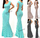 VIVICASTLE R17 Mixed Stripe Fitted Jersey Knit Flare Long Summer Maxi Dress SML