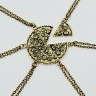 6pcs/set Antique Silver Gold Pizza Pendant Necklace Clavicle Friendship Jewelry