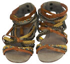 Topshop Leather Gadiator Sandals Tan & Yellow Plaited Straps with Chains