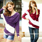 Women Patchwork Casual Drape Loose Striped Batwing Long Sleeve Tops Blouse Shirt
