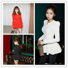 Women Sexy Puff Long Sleeves Fitted Peplum Tunic Tops Bodycon Shirt Dress Club
