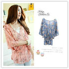 Casual Women One Size Flower Floral Chiffon Elastic Batwing Tops Blouse Vest