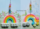RAINBOW CAR REAR VIEW MIRROR DANGLE CHARM CHAIN HANGING ORNAMENT POLYMER CLAY