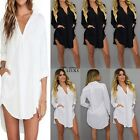 Ladies Women Casual Long Sleeve Oversize Loose Shirt Top Blouse Mini Dress PLUS