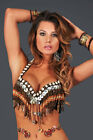 Professional Tribal Belly Dance Costume Shell & Wood Beaded Fringe Bra Top