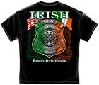 New Black T-Shirt with Irish Tri-Color Badge Police Law Enforcement  Design