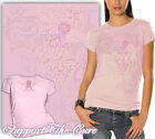 Pink Ladies Women's T-Shirt with Fight for a Cure Pink Ribbon & Wings Design