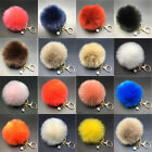 Rabbit Fur Fluffy Pompom Ball Handbag Car Pendant Charm Key Chain Keyring