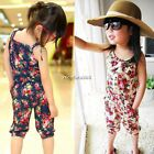 Baby Toddler Girls Floral Short Playsuit Soft Summer Jumpsuit 3-11Y N4U8