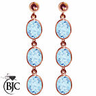 BJC® 9ct Rose Gold Natural Blue Topaz Oval Triple Drop Dangling Studs Earrings