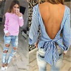 New Women Backless Strap Striped Long Sleeve Shirt Blouse Top Casual