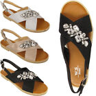 Womens ladies Flat Diamante Peep Toe jewel Sandals Party Summer Shoes sizes 3-8