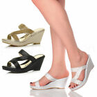 WOMENS LADIES HIGH HEEL WEDGE STRAPPY DIAMANTE PLATFORM MULES PROM SANDAL SIZE