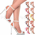 WOMENS LADIES SLIM HIGH HEEL BARELY THERE ANKLE STRAP PARTY EVENING SANDALS SIZE