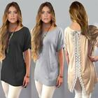 Women Sexy T-Shirt Short Sleeve Slit Blouse Neck Back Lace Long Tops