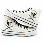 Fashion Couple Casual Canvas Shoes Fancy Skull Design White Sneaker High Ankle