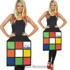 CL952 Ladies Rubik's Cube Costume Fancy Dress 80's Costume Rubix Cube Top Outfit