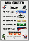 Personalised Superhero Teacher Childminder Teaching Assistant End of Term Gift