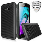 For Samsung Galaxy On5 Hybrid Carbon Fiber Shockproof Case+Tempered Glass Screen