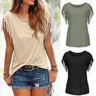 Women's Sexy Tassels Short Sleeve Loose T-Shirt Casual Tops Blouse