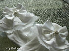 Infant Girls White Double Layer Lacy Satin Crystal Frilly Socks Various Sizes