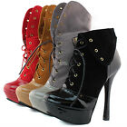 Women Platform Ankle Booties Round High Heel Lace Up Fold-Able Mid Calf Boots